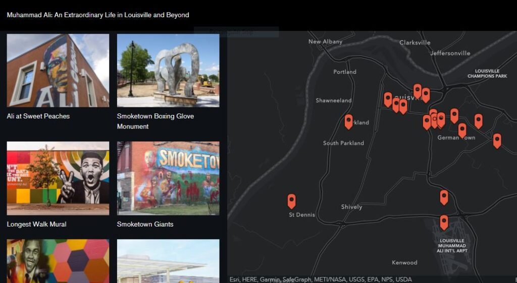 Screenshot of Muhammad Ali Storymap created by the Center for GIS.
